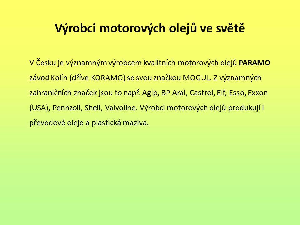 Výrobci motorových olejů ve světě