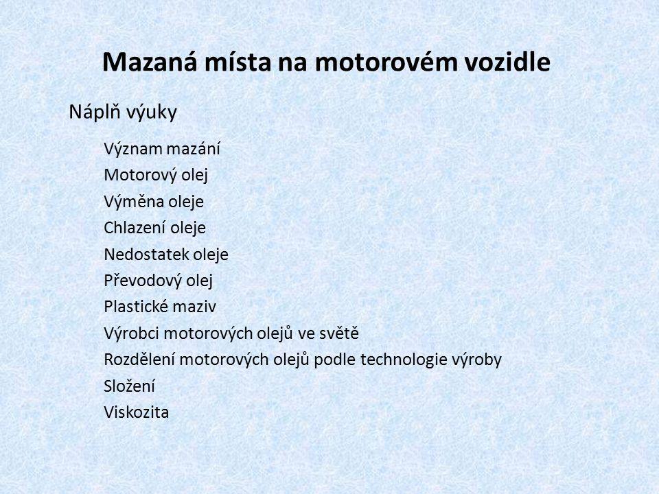 Mazaná místa na motorovém vozidle