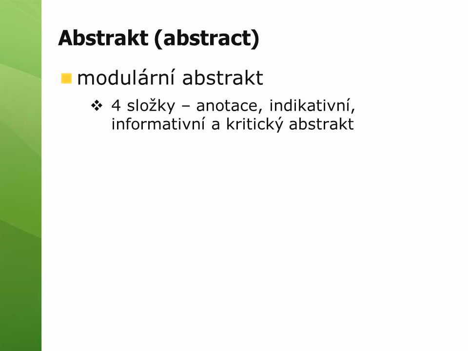Abstrakt (abstract) modulární abstrakt