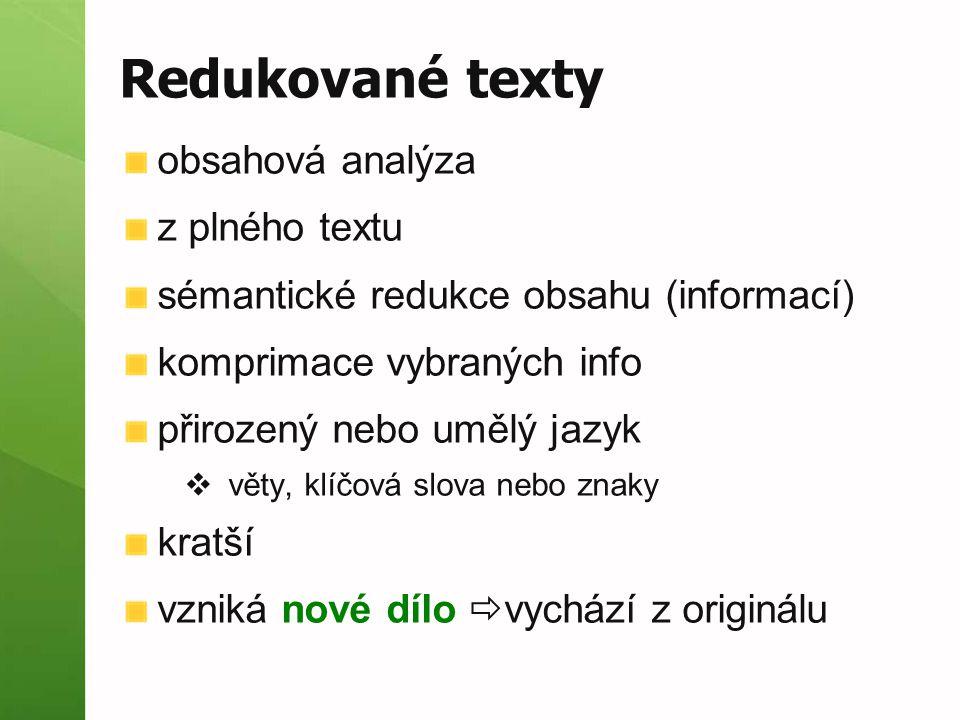 Redukované texty obsahová analýza z plného textu