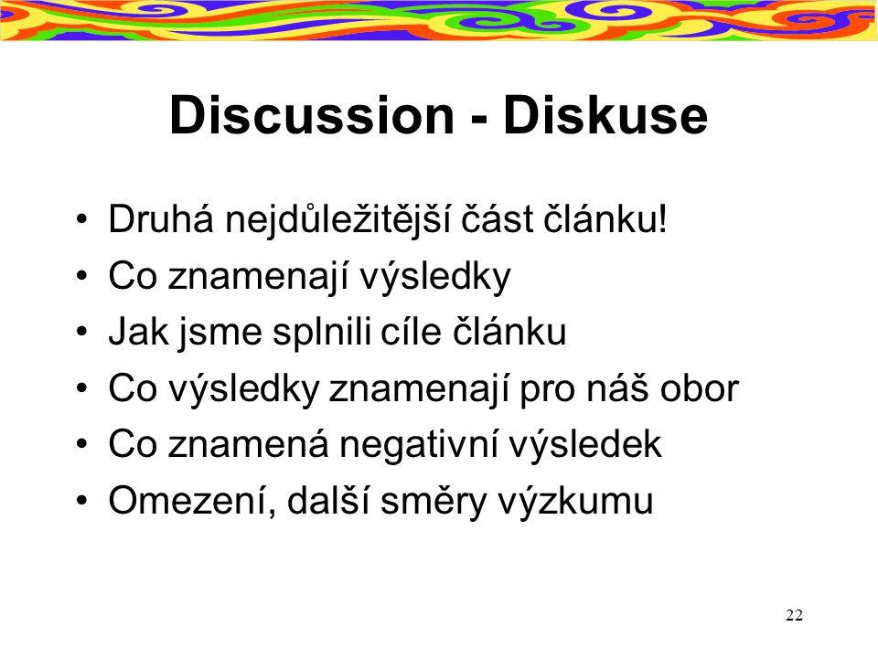 Discussion - Diskuse Druhá nejdůležitější část článku!