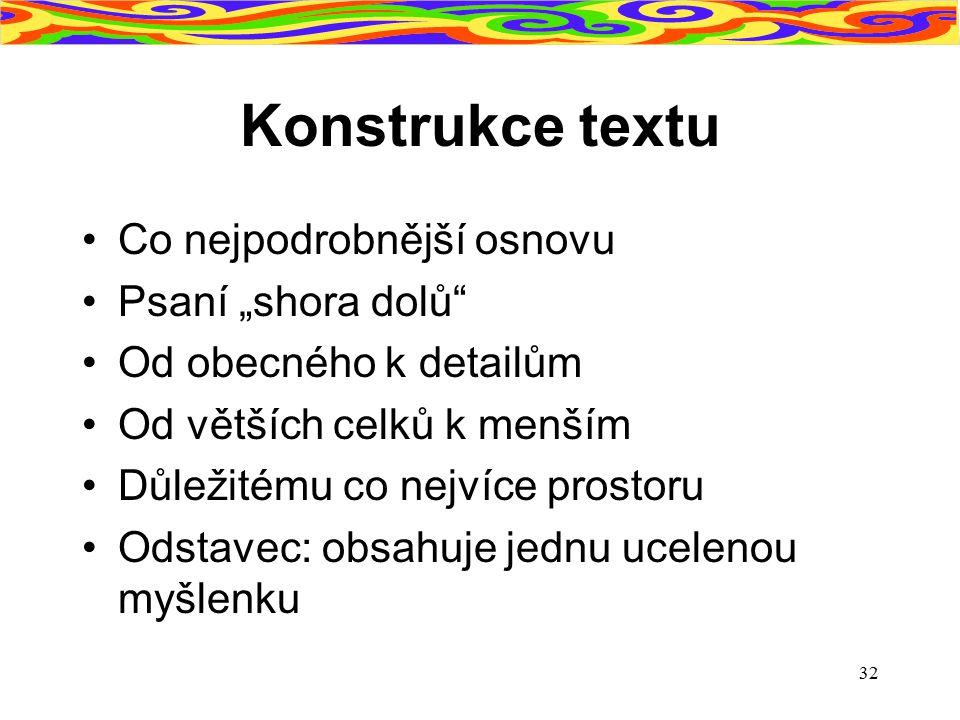 """Konstrukce textu Co nejpodrobnější osnovu Psaní """"shora dolů"""