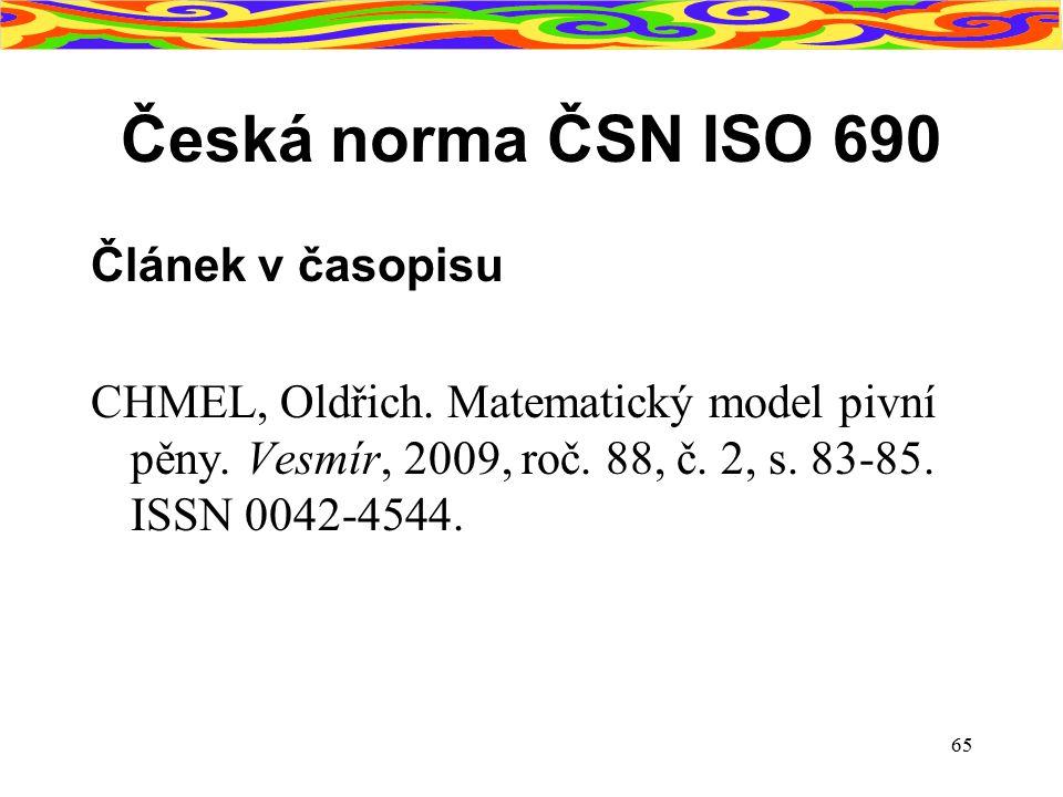 Česká norma ČSN ISO 690 Článek v časopisu