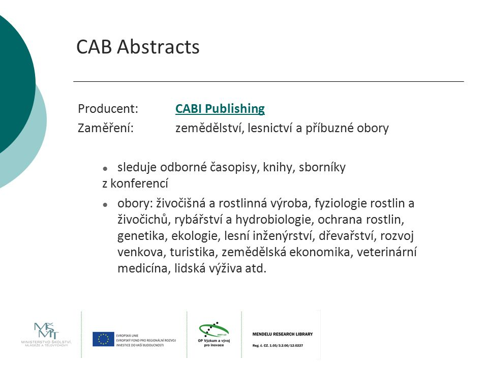 CAB Abstracts Producent: CABI Publishing
