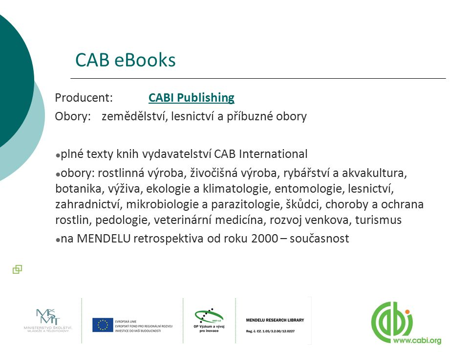 CAB eBooks Producent: CABI Publishing