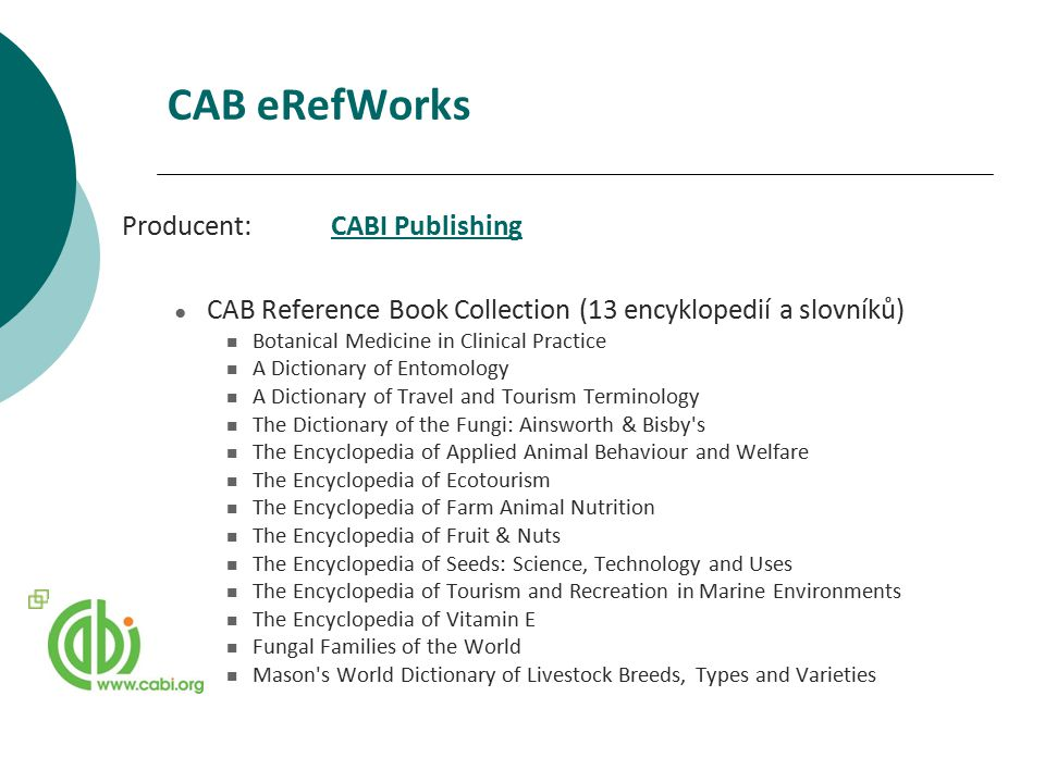 CAB eRefWorks Producent: CABI Publishing