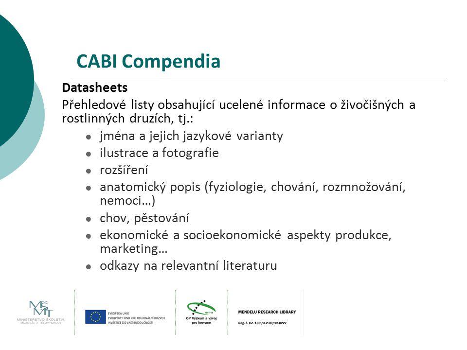 CABI Compendia Datasheets