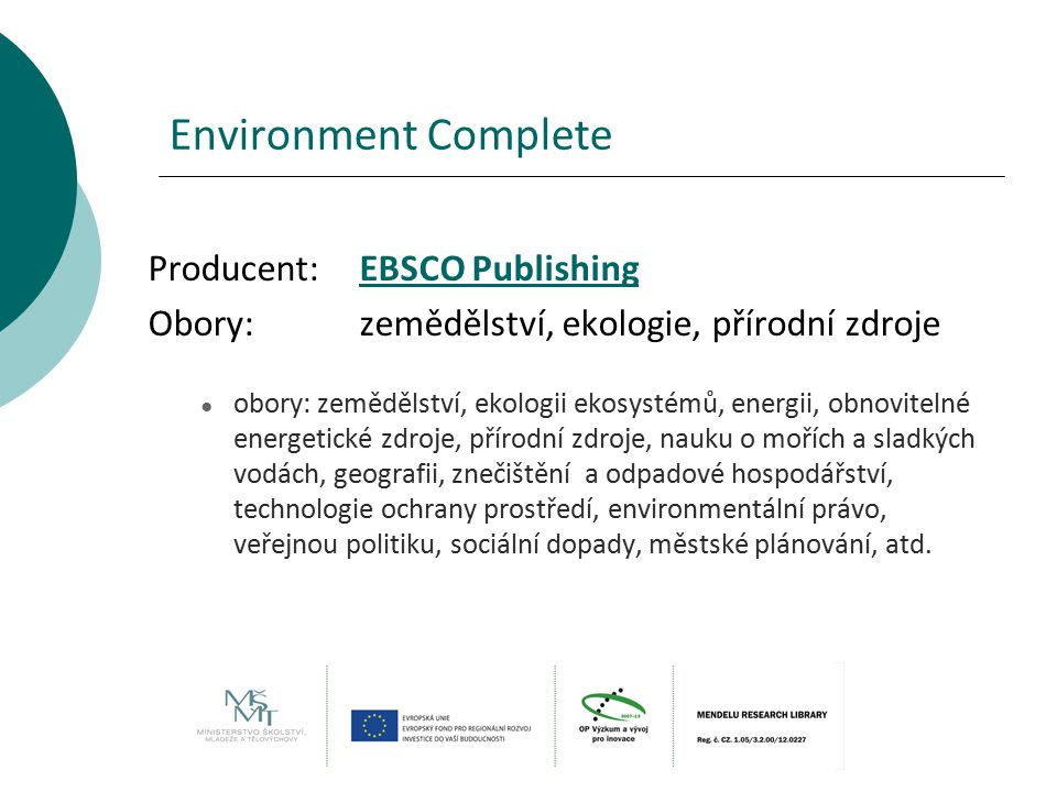 Environment Complete Producent: EBSCO Publishing