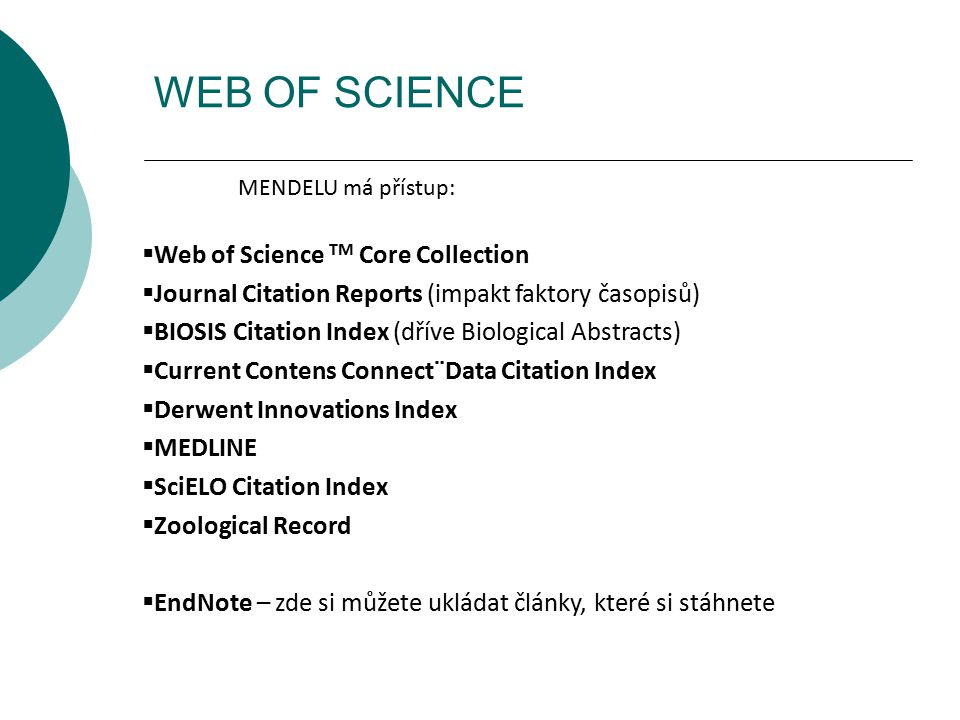 WEB OF SCIENCE Web of Science TM Core Collection