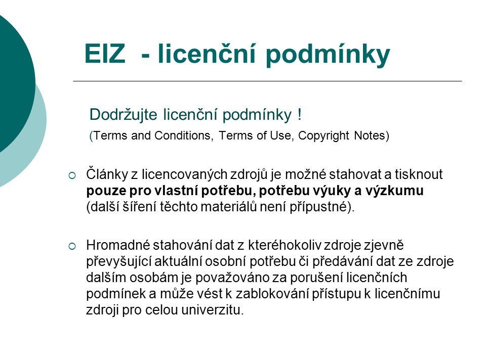 EIZ - licenční podmínky