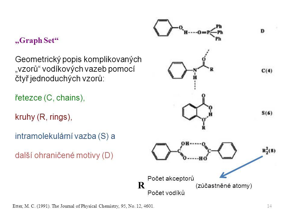 """""""Graph Set Geometrický popis komplikovaných """"vzorů vodíkových vazeb pomocí čtyř jednoduchých vzorů:"""