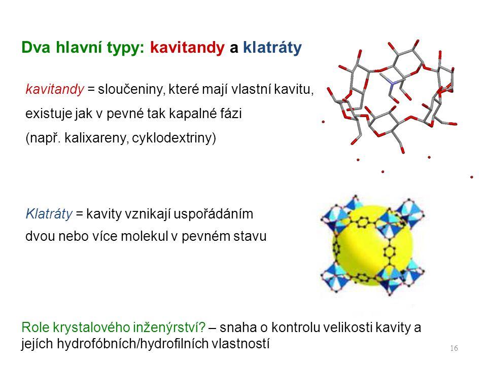 Dva hlavní typy: kavitandy a klatráty