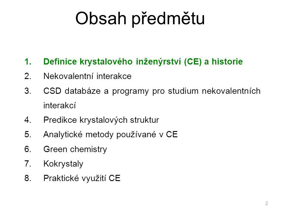 Obsah předmětu Definice krystalového inženýrství (CE) a historie