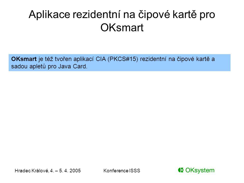Aplikace rezidentní na čipové kartě pro OKsmart