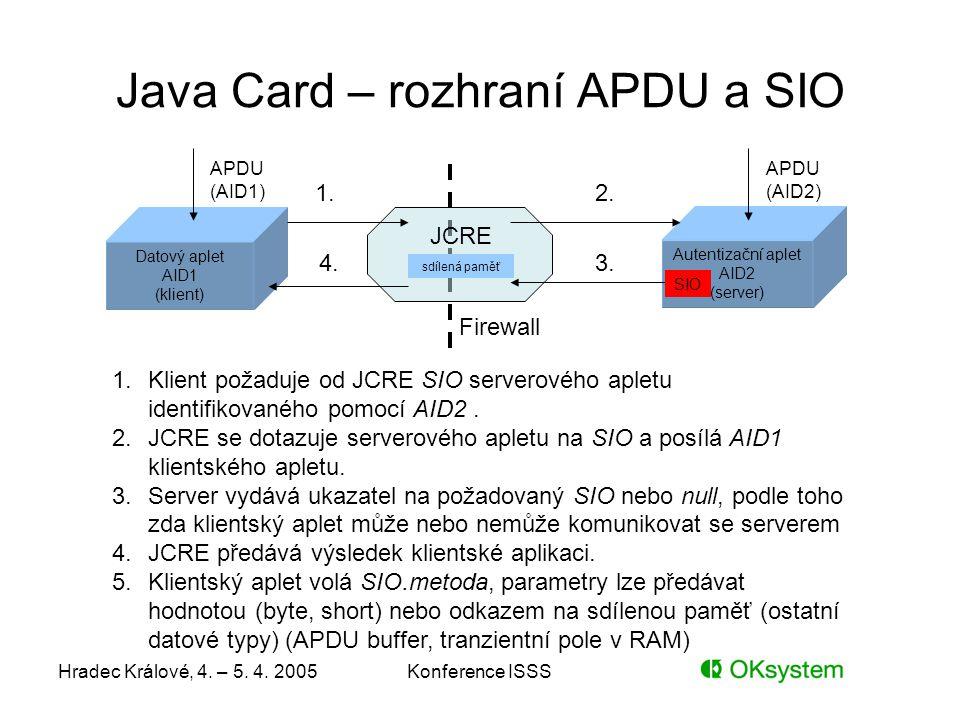 Java Card – rozhraní APDU a SIO