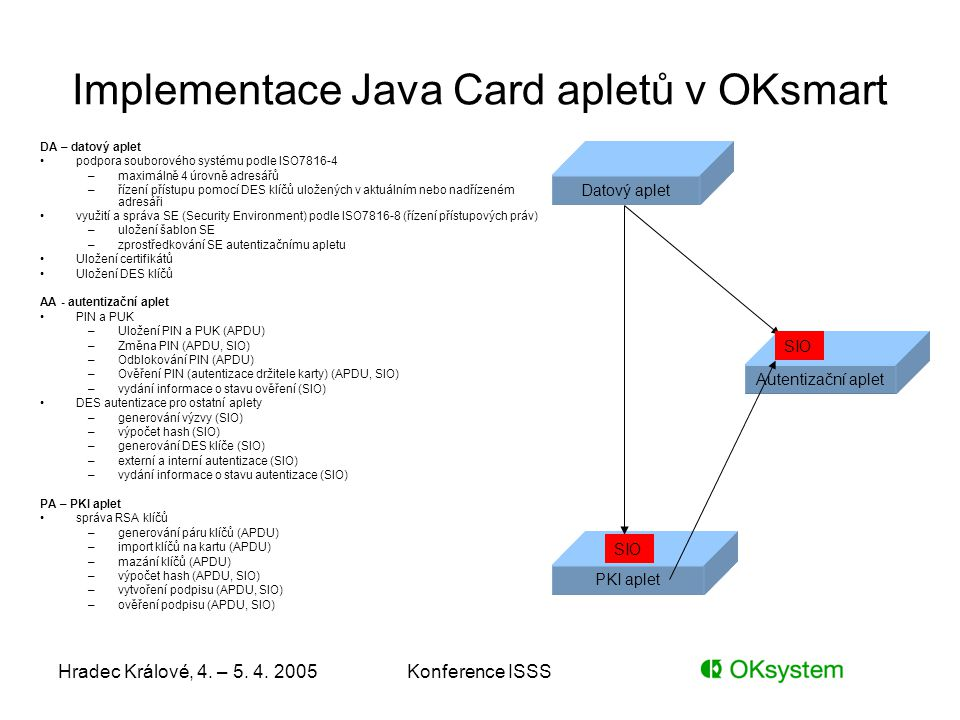 Implementace Java Card apletů v OKsmart