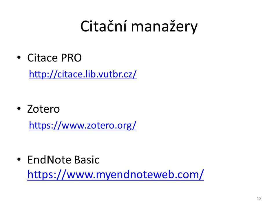 Citační manažery Citace PRO Zotero