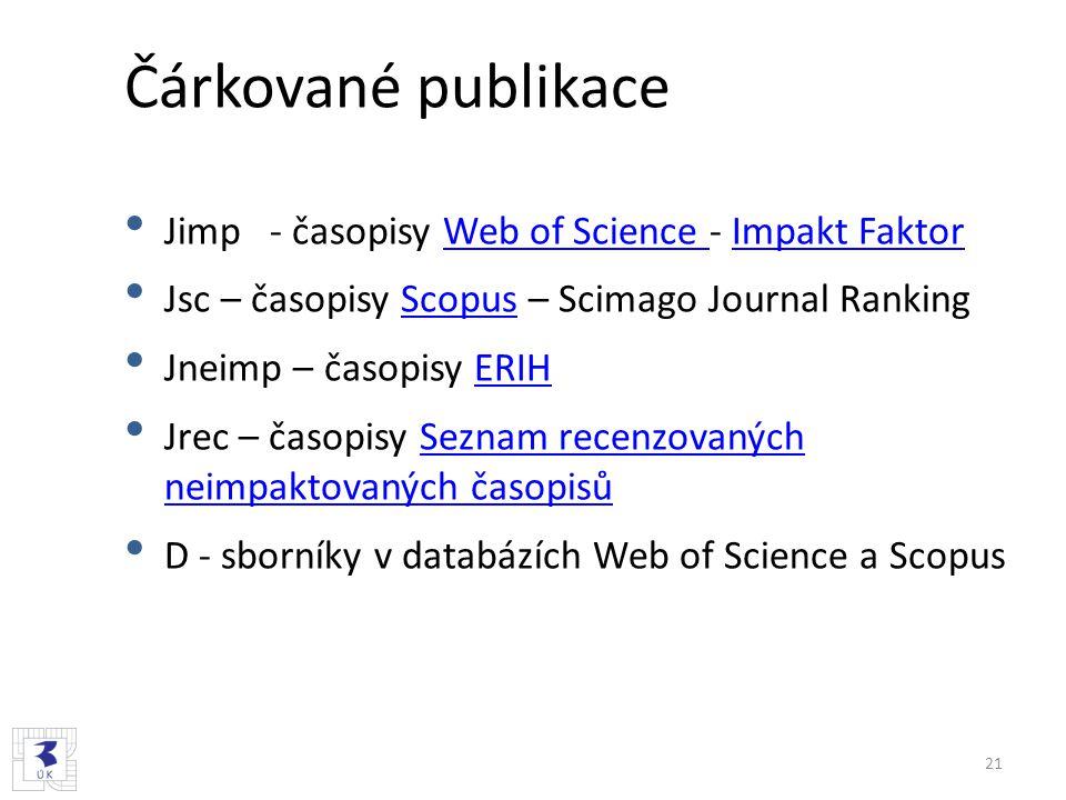 Čárkované publikace Jimp - časopisy Web of Science - Impakt Faktor