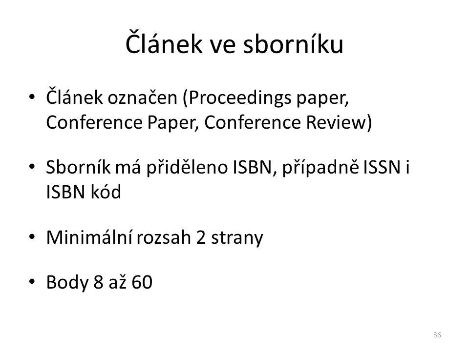 Článek ve sborníku Článek označen (Proceedings paper, Conference Paper, Conference Review) Sborník má přiděleno ISBN, případně ISSN i ISBN kód.
