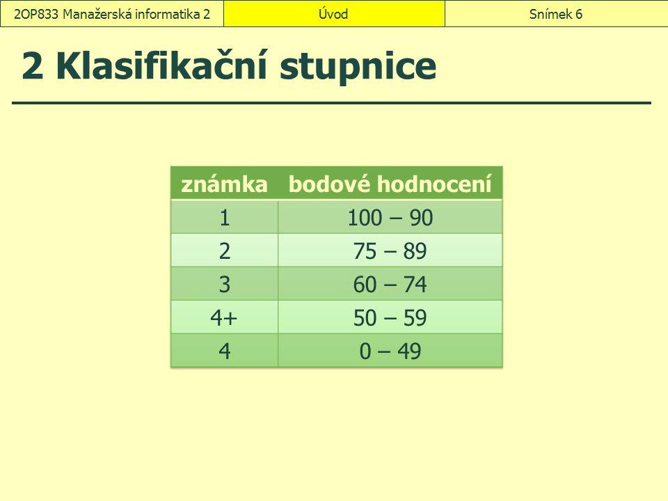 2 Klasifikační stupnice