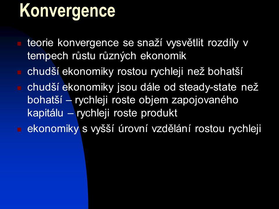 Konvergence teorie konvergence se snaží vysvětlit rozdíly v tempech růstu různých ekonomik. chudší ekonomiky rostou rychleji než bohatší.