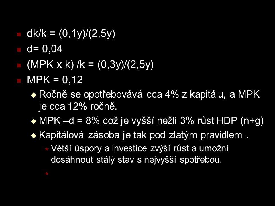 dk/k = (0,1y)/(2,5y) d= 0,04 (MPK x k) /k = (0,3y)/(2,5y) MPK = 0,12