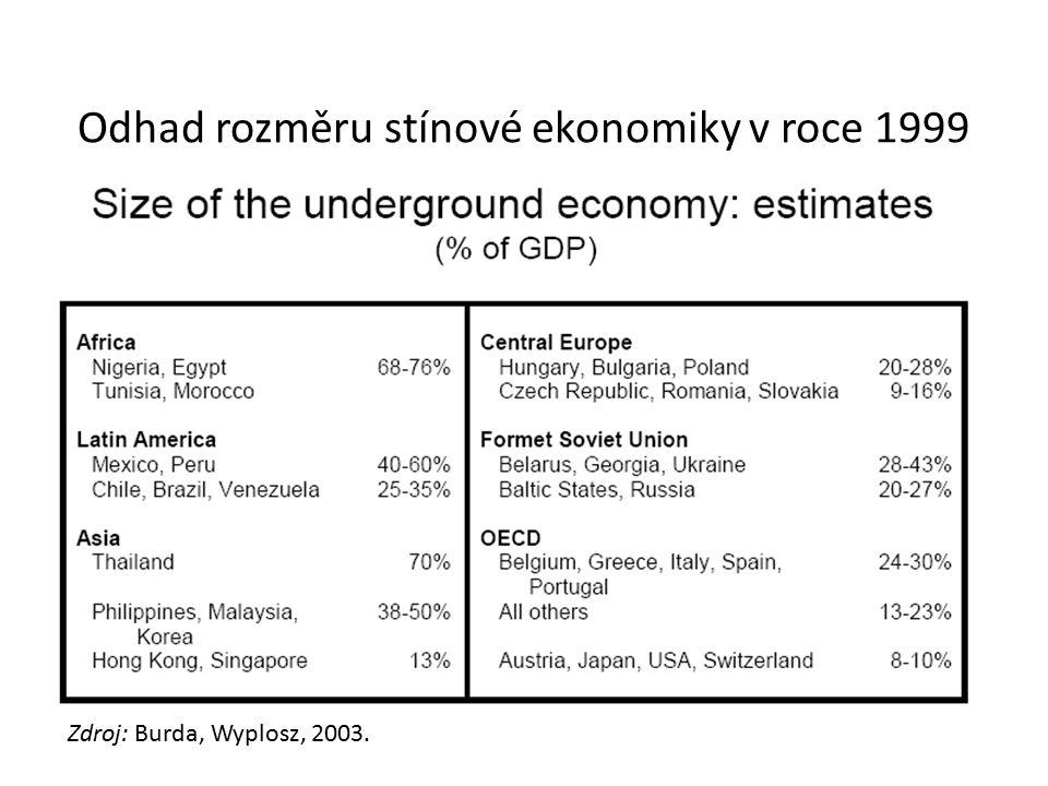 Odhad rozměru stínové ekonomiky v roce 1999