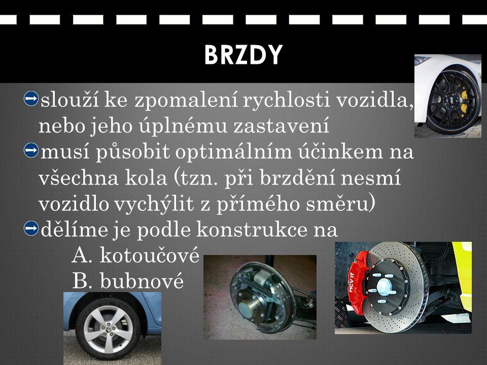 BRZDY slouží ke zpomalení rychlosti vozidla, nebo jeho úplnému zastavení.