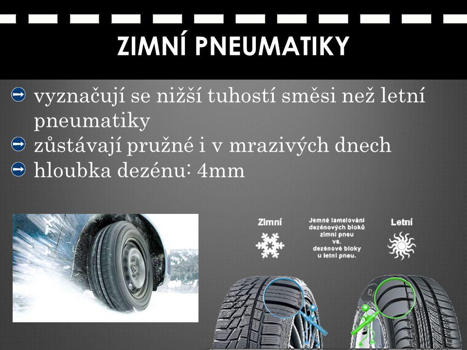 ZIMNÍ PNEUMATIKY vyznačují se nižší tuhostí směsi než letní pneumatiky