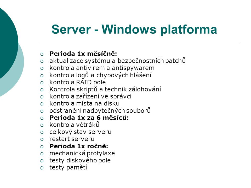 Server - Windows platforma