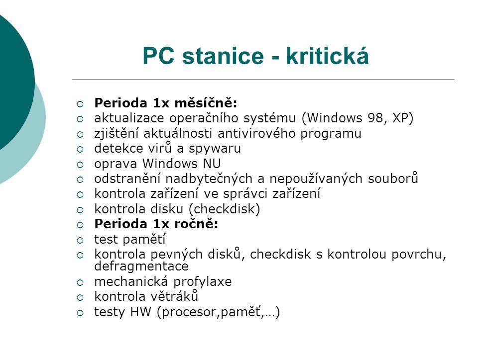 PC stanice - kritická Perioda 1x měsíčně: