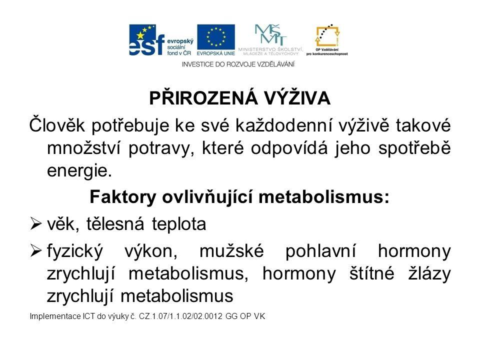 Faktory ovlivňující metabolismus: