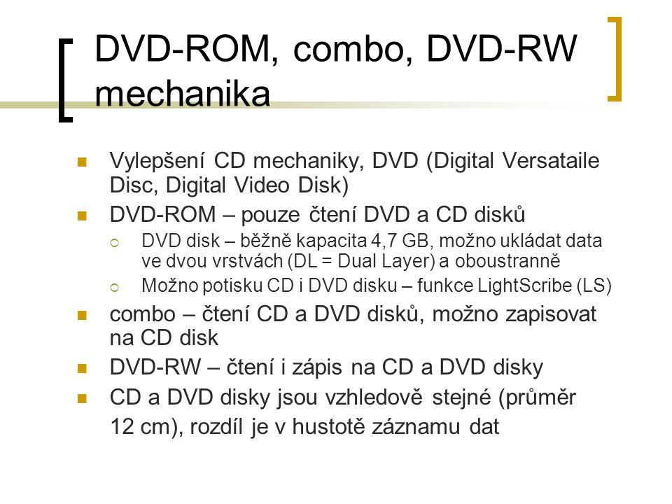 DVD-ROM, combo, DVD-RW mechanika