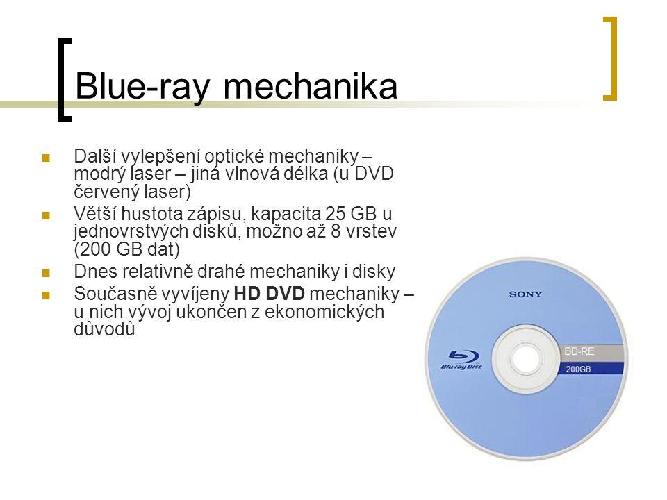 Blue-ray mechanika Další vylepšení optické mechaniky – modrý laser – jiná vlnová délka (u DVD červený laser)