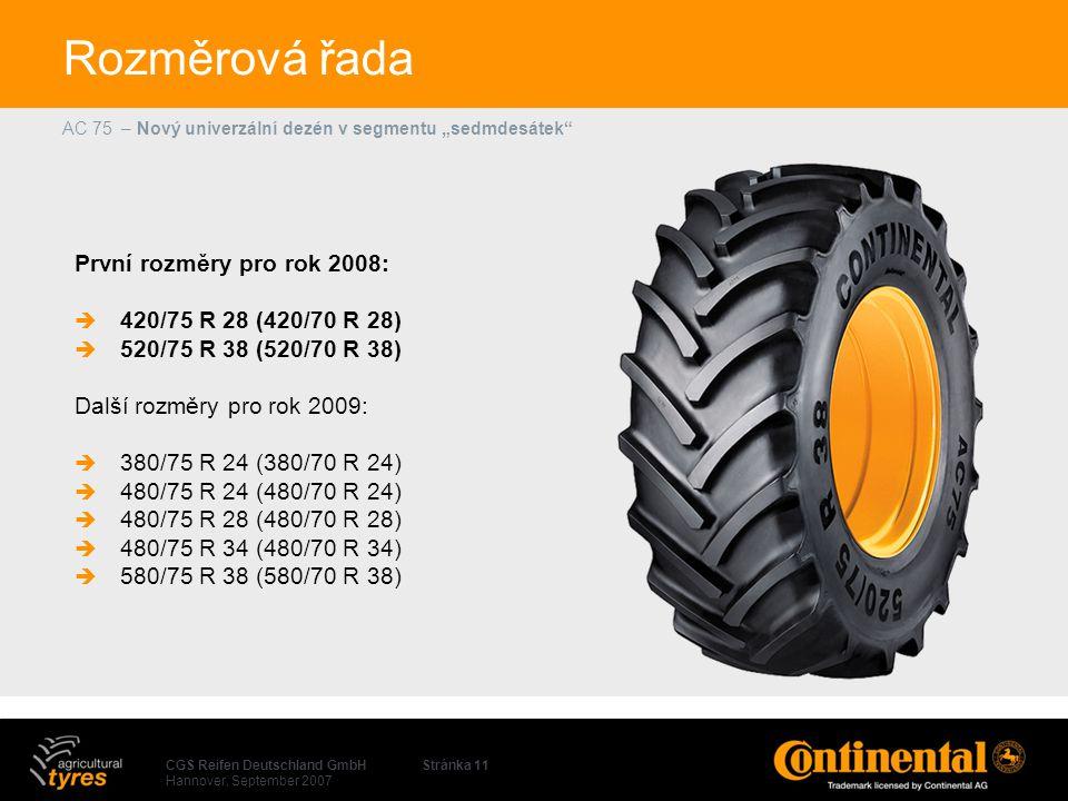 Rozměrová řada První rozměry pro rok 2008: 420/75 R 28 (420/70 R 28)