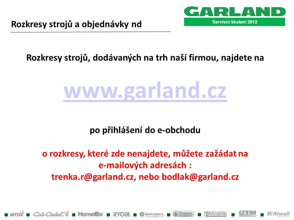 www.garland.cz Rozkresy strojů a objednávky nd
