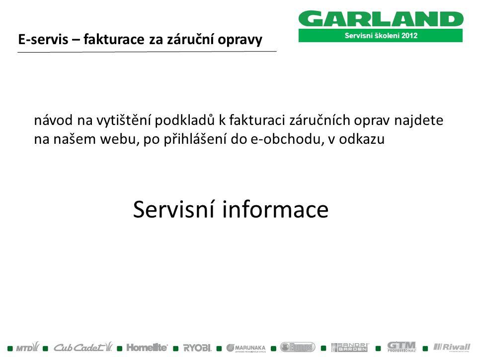 Servisní informace E-servis – fakturace za záruční opravy