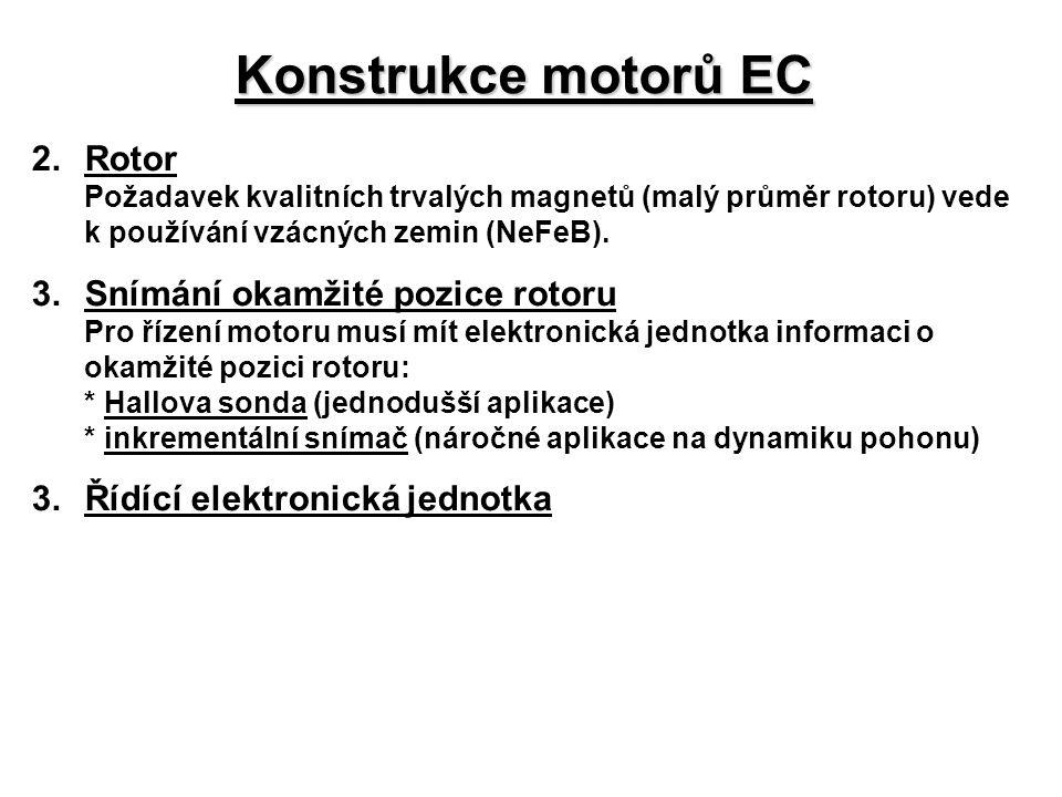 Konstrukce motorů EC 2. Rotor 3. Snímání okamžité pozice rotoru