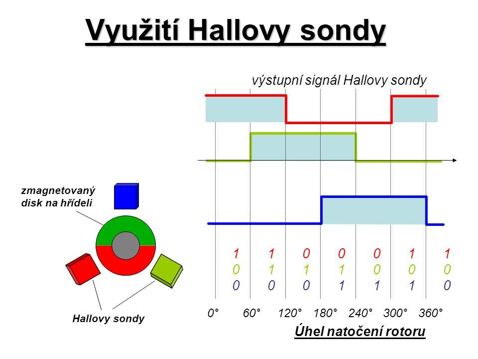 Využití Hallovy sondy výstupní signál Hallovy sondy 1 1 0 0 0 1 1