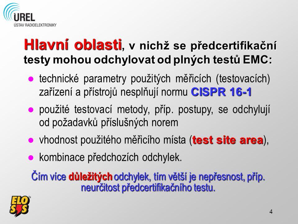 Hlavní oblasti, v nichž se předcertifikační testy mohou odchylovat od plných testů EMC: