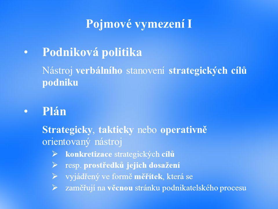 Nástroj verbálního stanovení strategických cílů podniku