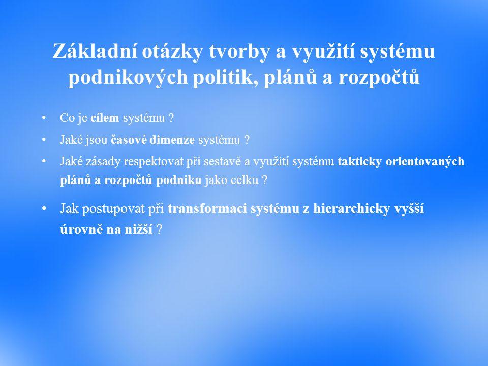 Základní otázky tvorby a využití systému podnikových politik, plánů a rozpočtů