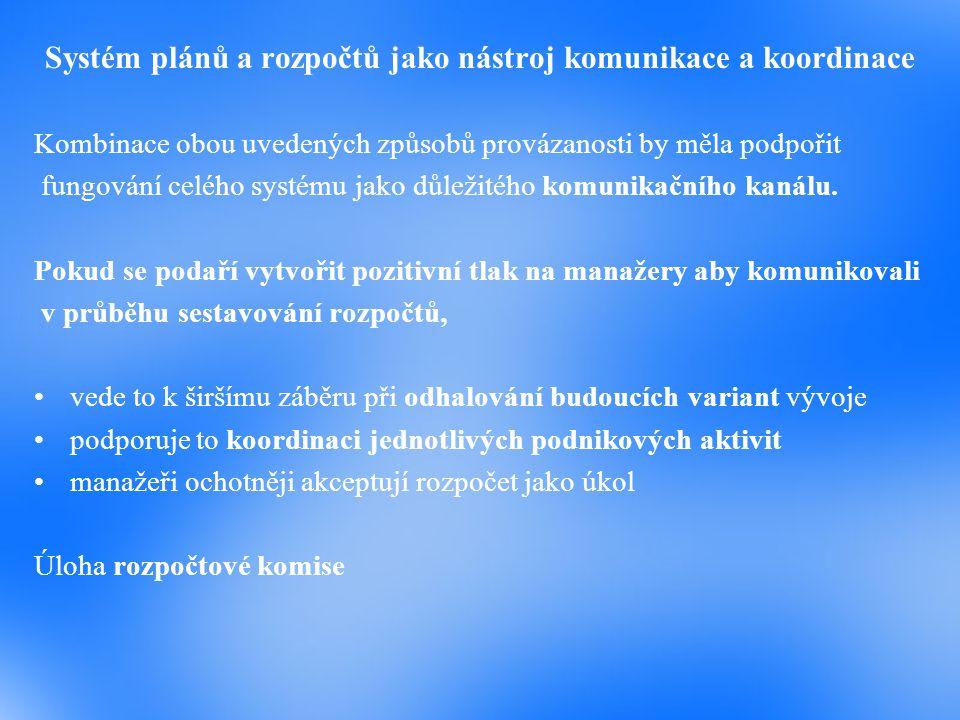Systém plánů a rozpočtů jako nástroj komunikace a koordinace