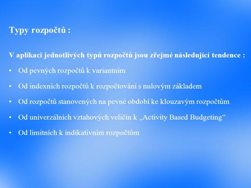 Typy rozpočtů : V aplikaci jednotlivých typů rozpočtů jsou zřejmé následující tendence : Od pevných rozpočtů k variantním.