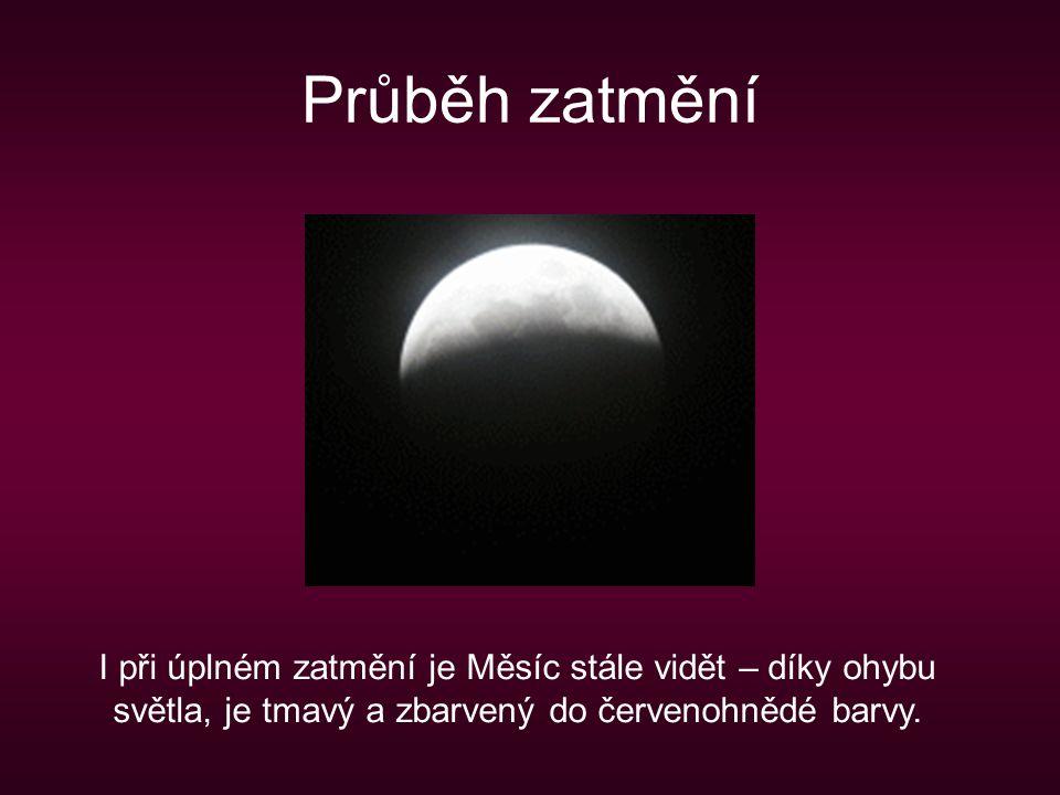 Průběh zatmění I při úplném zatmění je Měsíc stále vidět – díky ohybu světla, je tmavý a zbarvený do červenohnědé barvy.