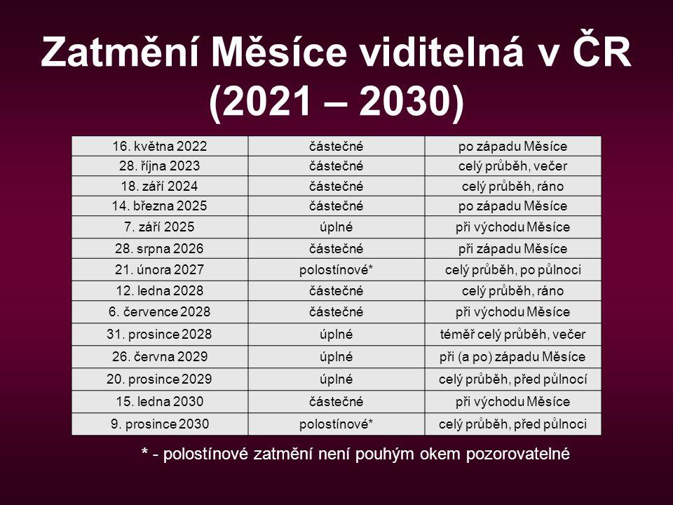 Zatmění Měsíce viditelná v ČR (2021 – 2030)