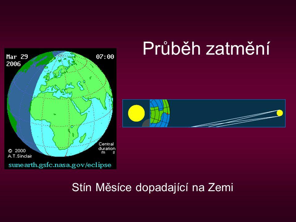 Průběh zatmění Stín Měsíce dopadající na Zemi