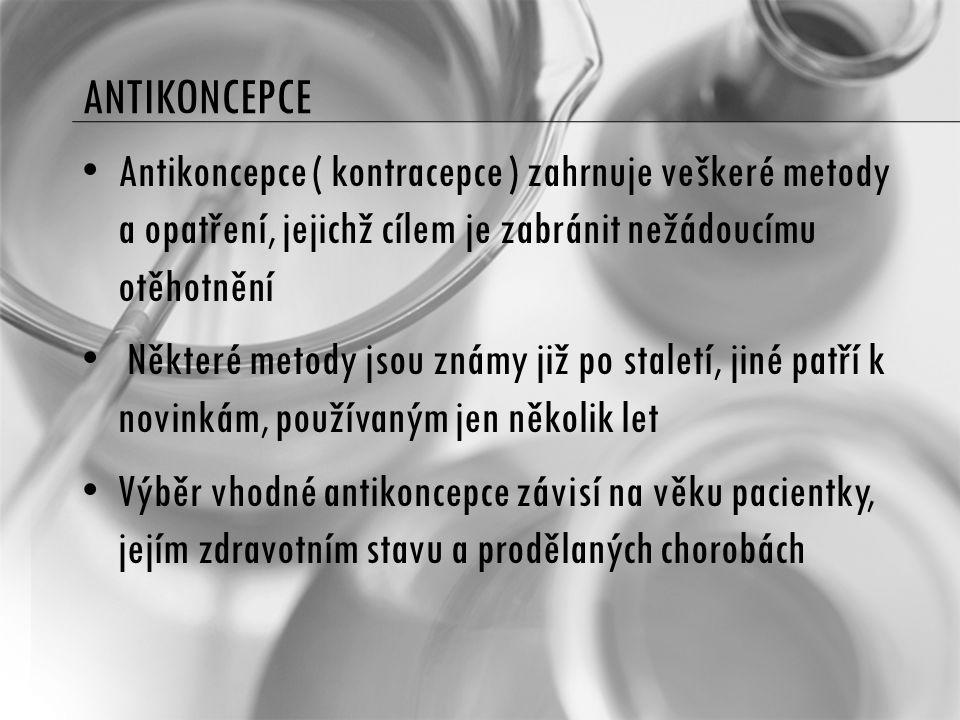 ANTIKONCEPCE Antikoncepce ( kontracepce ) zahrnuje veškeré metody a opatření, jejichž cílem je zabránit nežádoucímu otěhotnění.