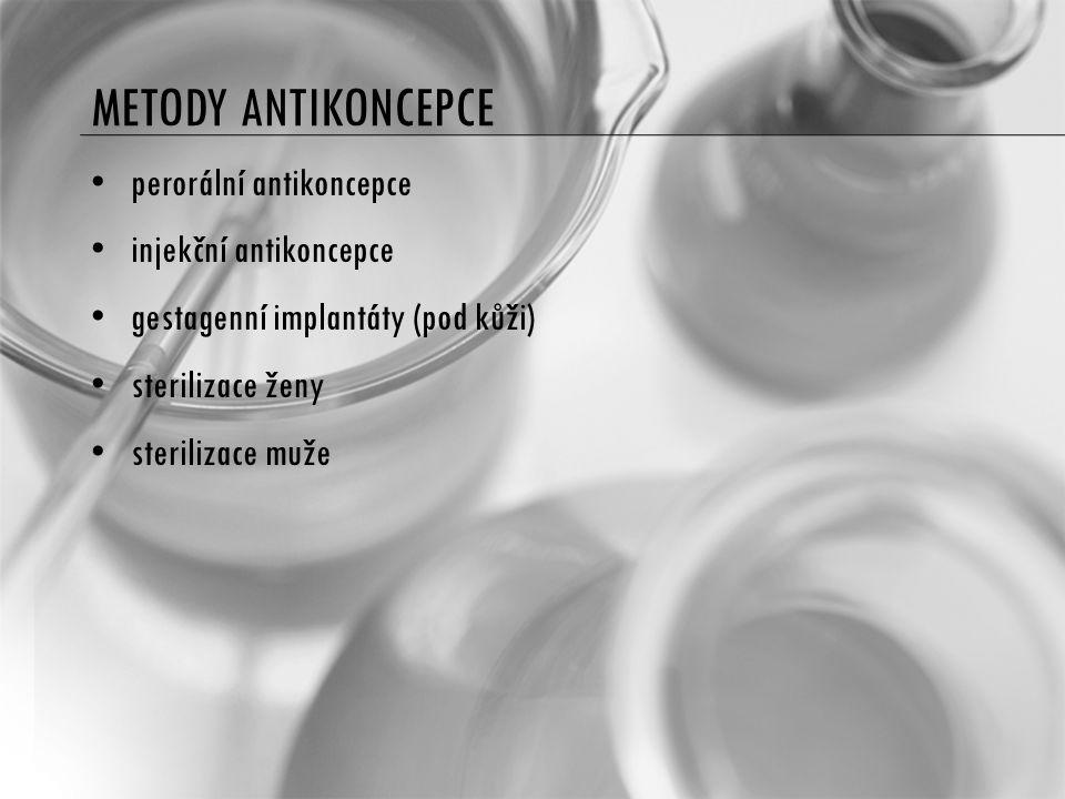 METODY ANTIKONCEPCE perorální antikoncepce injekční antikoncepce