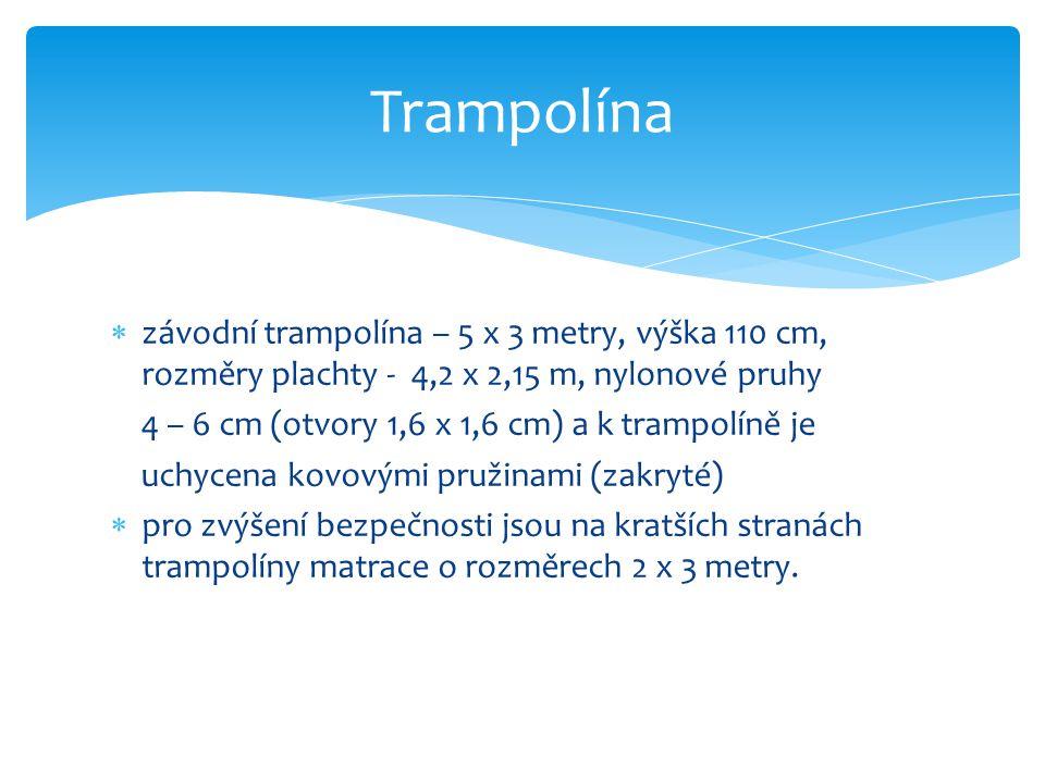 Trampolína závodní trampolína – 5 x 3 metry, výška 110 cm, rozměry plachty - 4,2 x 2,15 m, nylonové pruhy.